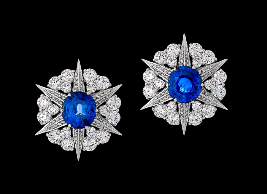 Blue Sapphire and Diamond Star Cluster Earrings - Earrings - Women s ... 3b14c19979